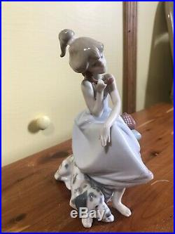 Vintage Lladro Chit Chat Girl with Dalmatian Dog #5466 EUC 1987 BEST OFFER