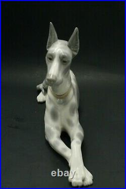 Vintage Lladro Dog Figurine 1977 Great Dane with Gray Spots Large 12