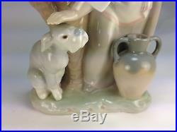 Vintage Lladro Figurine #1246 Caress & Rest Girl Petting Dog Mint