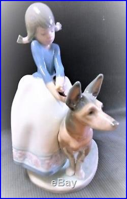 Vintage Lladro Figurine #1533, Not So Fast mint, no box, girl leadng lg dog