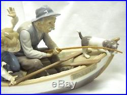 Vintage Lladro Fishing with Gramps #5215 Grandpa on Boat with Dog with Wood Base