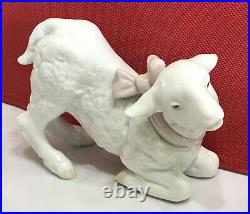 Vintage Lladro Girl Lamb in Pink Bow #6547 PORCELAIN FIGURINE 4 no box