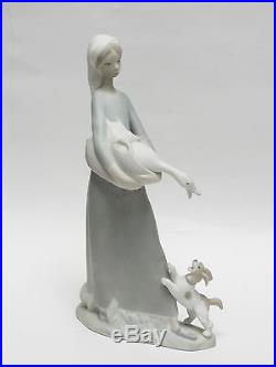 Vintage Lladro Tall Figurine #4866 Girl With Goose And Dog Matte Retired