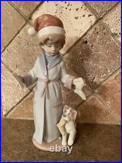 Vintage Retired Lladro 6166 Dear Santa Boy With Dog