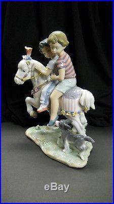 Vintage Retired Lladro #6430 PONY RIDE Children on Fancy Pony withDog (Mint)