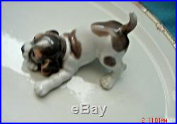 Vintage Retired Lladro Porcelain Pouncing Beagle Puppy Dog Figurine # 1667