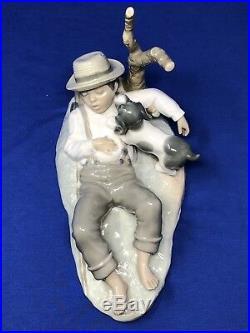 Vintage Zaphir porcelain Figurine Sleeping fisherman Boy with Dog