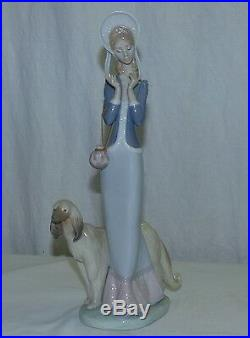 Vtg 13 Lladro Stepping Out Lady with Afghan Dog Figurine # 1537 by Juan Huerta