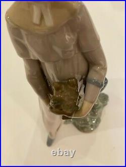 Vtge LLADRO Women Holding a Brown Pekingese Dog- My Little Pet #4893 Retired