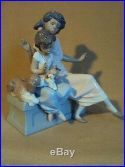 WAS $795 Lladro MEET MY FRIEND African Black Legacy Mom Girl Dogs XRARE MINT